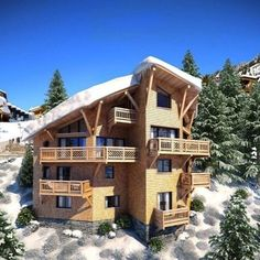 Ski chalets topped with snow and soaked in winter sun #Luxury #Lifestyle #Interiors #InteriorDesign #HomeDesign #HomeDecor #Home #Property #RealEstate #EstateAgent #Realtor #Design #Ski #Skiing #France #Alpine #Sports #Winter #Maison #Designer #Luxe #Propriété #лыжа #Главная #роскошь