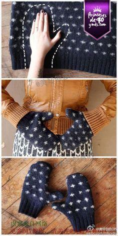 Qué buena idea para unos guantes que nos cubran del frío. #fro #diy #winter #idea #PrincesasDe40