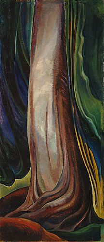 Emily Carr, The Red Cedar , Oil (from here ) Deboh, Nicolas. Four Pictures by Emily Carr . Tom Thomson, Canadian Painters, Canadian Artists, Emily Carr Paintings, Vancouver Art Gallery, Art Chinois, Post Impressionism, Impressionist Paintings, Art Moderne