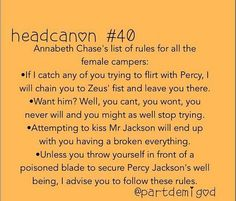 Annabeth Chase's list of rules for all female campers