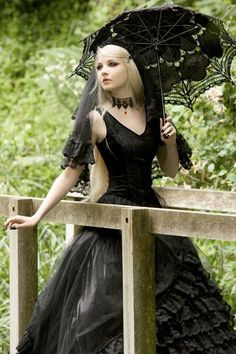 black gothic lace dress with parasol