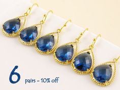 Navy Blue Wedding Earrings Set of 6 10% Off, Bridal Shower Gift for Maid of Honor Gift, Bridesmaid Gift Set Wedding Jewelry Set Bridal Party