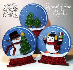 Snowglobes Cards. Snowman and penguin ✿ Join 1,700 others & follow the Cards and paper crafts board. Visit http://GrannyEnchanted.Com for thousands of digital scrapbook freebies. ⊱✿⊰