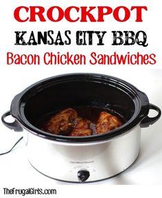 Crockpot Kansas City BBQ Bacon Chicken Sandwich Recipe in Crockpot Recipe, Main Courses Sides, Recipes Crockpot Dishes, Crock Pot Slow Cooker, Crock Pot Cooking, Crockpot Recipes, Bbq Bacon, Chicken Bacon, Specialty Sandwiches, Chicken Sandwich Recipes, Tailgate Food