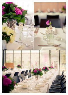 Long tables with simple flower arrangements. Long Tables, Wedding Decorations, Table Decorations, Museum Wedding, Simple Flowers, Tablescapes, Flower Arrangements, Place Cards, Centerpieces
