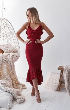 Stunning Red Lace Dress perfect for your bridesmaid dress! Shop now from Nouveau Riche Boutique! Lace Midi Dress, White Dress, Dress Red, Lace Dresses, Fishtail Skirt, Quince Dresses, Different Dresses, Quinceanera Dresses, Traditional Dresses