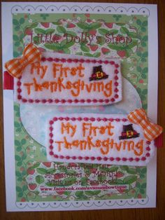 Baby's First Thanksgiving Hair Clippies by LittleDollysShop