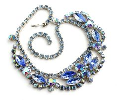 SALE -Vintage Blue Rhinestone Necklace - Silver Tone Aurora Borealis Costume Jewelry / Icy Blues Maejean Vintage, $45.00