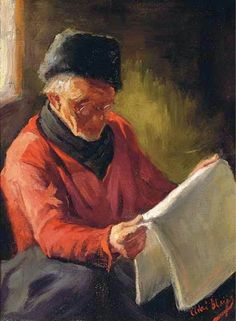 A fisherman from Volendam reading the paper by Adri Bleijs born August 24, 1877 in Hoorn, Netherlands died November 7, 1964 (87) in Volendam, Netherlands