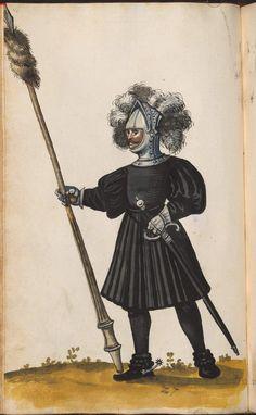 Black Paltrock, with puff type sleeves. pg 112    Hofkleiderbuch (Abbildung und Beschreibung der Hof-Livreen) des Herzogs Wilhelm IV. und Albrecht V. 1508-1551 - BSB Cgm 1951, München, 16. Jh. [BSB-Hss Cgm 1951]