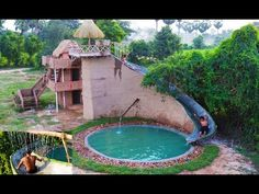 [Full Video] Build Most Beautiful Three Story Villa & Highest Water Slide House With Swimming Pool Garden Yard Ideas, Water Slides, House In The Woods, Swimming Pools, Most Beautiful, Villa, Spa, House Design, Building