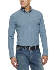 Ariat Men's Ridley Small Check Navy Shirt - Big & Tall
