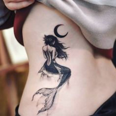 Mermaid moon tattoo by @tattoo_grain on instagram #MoonTattooIdeas