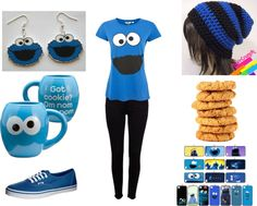 """""""Cookie Monster Outfit"""" by musicalorchdork ❤ liked on Polyvore"""