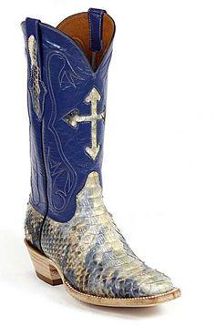 Black Jack Handmade Blue and Cream Python Luxury Cowboy Boots