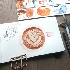 Pencil calligraphy and watercolor flat white.