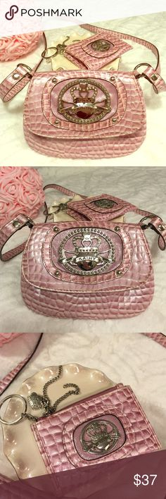 Kathy Van Zeeland Pink Iridescent Shoulder Bag Absolutely adorable little bag with long strap! Silver crown & detailing on front that shines! Also comes with coin purse keychain  Kathy Van Zeeland Bags