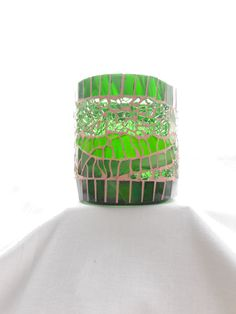 Mosaic candleholder, from recycled winebottle nr. 256 by BibiKPackard on Etsy Candle Holders, Unique Jewelry, Handmade Gifts, Etsy, Vintage, Decor, Recyle, Mosaic, Flasks
