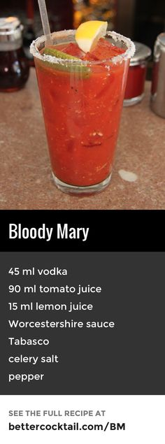 "The Bloody Mary is a very well known cocktail and is unique in many ways. The drink takes on an array of savoury flavours, containing Worcestershire sauce, Tabasco sauce, celery salt and pepper. Combined with vodka, tomato juice and lemon juice, it's no wonder it has been called ""the world's most complex cocktail""!"