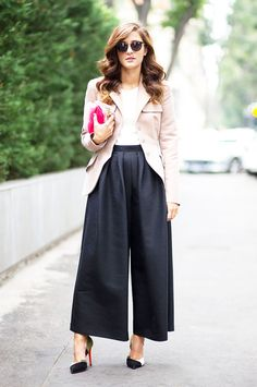 Black Culottes, White Shirt & Pink Blazer with Color Coordinating Clutch & Pump Heels