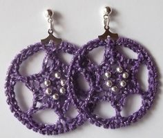 Gossamer Tangles: Six-Pointed Star Crocheted Hoop Earrings - Free crochet pattern by Angela Saylor.