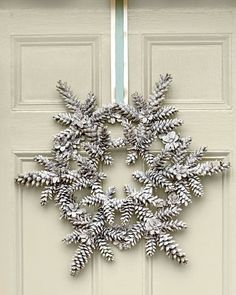 This white Snowy Pinecone Wreath from Southern Living would look awesome on my red front door! {wreath for January} Crafts Snowy Pinecone Wreath Noel Christmas, All Things Christmas, Winter Christmas, Christmas Wreaths, Christmas Decorations, Magical Christmas, Christmas Ornaments, Snowflake Decorations, Christmas Crafts With Pinecones
