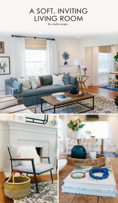 Living Room, Grey Sofa, White Drapes