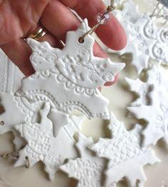 Made to Order.Let it snow, A set 3 beautiful handmade bone china snowflake ornaments Ceramic Christmas Decorations, Christmas Ornaments To Make, Unique Christmas Gifts, Snowflake Ornaments, Handmade Christmas, Snowflakes, Christmas Crafts, Unique Gifts, Christmas Things