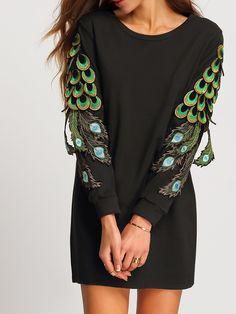 Black Round Neck Peacock Tail Embellished Dress 19.91