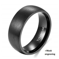 Titanium Ring for VIP Customer with Fast shipping - 9 / Black with Mask. #silver #rings #jewelry #gold #handmade #ring #fashion #style #diamonds #earrings #handmadejewelry #bracelets #accessories #design #bracelet #luxury #necklace Wedding Rings Simple, Silver Wedding Rings, Silver Engagement Rings, Silver Rings, Titanium Rings For Men, Commitment Rings, Wedding Band Sets, Fashion Rings, Save Wildlife