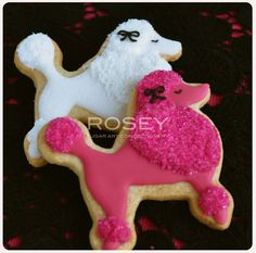 White & Pink Poodle cookies by rosey sugar, Galletas Cookies, Dog Cookies, Iced Cookies, Cute Cookies, Royal Icing Cookies, Sugar Cookies, Cupcakes, Cupcake Cookies, Cupcake Party