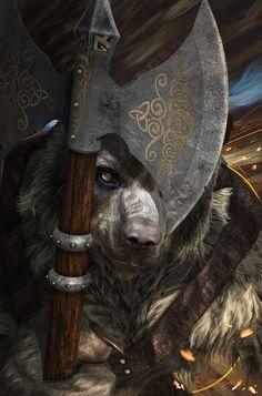 Artwork by:  Kurt Muller World of Darkness Werewolf the Apocalypse Fera Werebear Gurahl Character Concept scene ideas