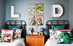 Little Boys Superhero Room Little Boys Superhero Room You can find Thor and more on our website.Little Boys Superhero Room Little Boys Superhero Room Boys Superhero Bedroom, Marvel Bedroom, Boys Bedroom Decor, Bedroom Ideas, Teen Bedroom, Bedroom Designs, Chambre Nolan, Avengers Room, Toddler Rooms