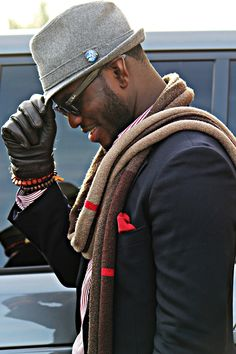 Hat, hat pin, scarf and pocket square....tight