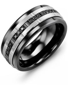 Trio Black Diamonds Wedding Ring  One of the most striking rings in our Monochrome collection, this exquisite Gold Trio Black Diamonds Wedding Ring for men just goes to show that diamonds are a man's best friend too!  The tungsten ring, cobalt ring, or ceramic ring features a brushed gold insert set with a dazzling display of white and black diamonds. This eternity ring for men is a spectacular piece of jewelry that you can enjoy wearing every day. Personalize with our engraving service.