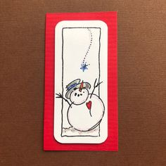 Who knew? Before slimline was in! Love Thoughts, Stork, Homemade Cards, Snowman, Snoopy, Fictional Characters, Art, Craft Art, Diy Cards