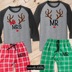 Mr. and Mrs. with Antlers Couple's Pajama Set /// #beforetheidos #mrandmrs #christmas #wedding