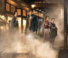 "In our new issue, we go on the set and deep inside the chamber of secrets of J.K. Rowling's #FantasticBeasts. Here's your first look at Katherine Waterston as Porpentina ""Tina"" Goldstein, Eddie Redmayne as Newt Scamander, Alison Sudol as Queenie Goldstein, and Dan Fogler as Jacob Kowalski."
