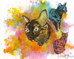 """This is Willow. She's a pretty multifaceted cat. Reproduction of an original art piece. Background was created with  watercolor and the rest done with a watercolor under-layer and colored  pencils over that for details. Available sizes:   - 8x10"""" (paper size: 8.5"""" x 11"""") - 12x16"""" (paper size: 13""""x19"""")"""