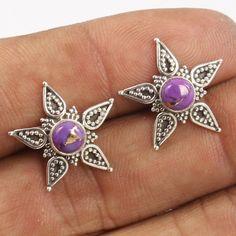 PURPLE COPPER TURQUOISE Gemstones 925 Sterling Silver Stud Earrings ! Wholesale #Unbranded #Stud