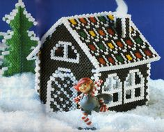 Kids Craft - Perler Hama Fuse beads - 3D Christmas Holiday gingerbread house