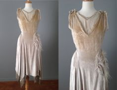 Vintage 20s Silver-White Silk Velvet Flapper Dress // Great Gatsby Dress - 25% off with coupon code NYE2013
