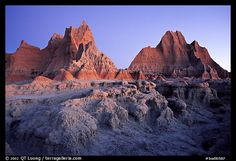 Erosion formations, Cedar Pass, dawn. Badlands National Park (color)