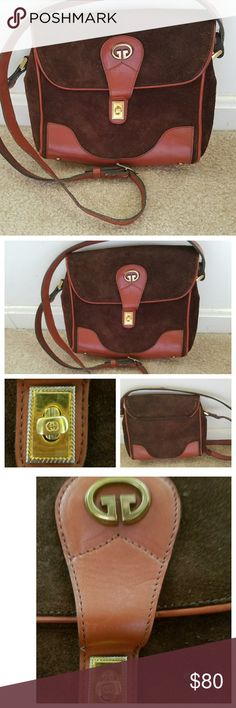 GG Brown Suede & Leather Crossbody Purse Looks like Gucci. Good Pre-owned Condition! Clean interior lining. No serial number or tag.  Slight stiching wear to the strap. Please view my closet for additional designer items designer items. Thank you. No offers! Gucci Bags Crossbody Bags