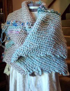 Boho Tribal Freeform knit Wrap Shawl Ozark by LaZingaraAdorna, $75.00
