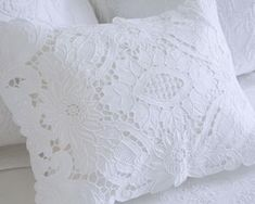 Paper Embroidery Liana Pillow Sham-Boudoir - Heirloom quality hand embroidery on linen. Wonderful gift or just a great addition to your bed or anywhere else. Pillow insert is not included in price. Hardanger Embroidery, Paper Embroidery, Embroidery Transfers, Vintage Embroidery, Embroidery Patterns, Machine Embroidery, Pillow Shams, Pillows, Ruffle Pillow