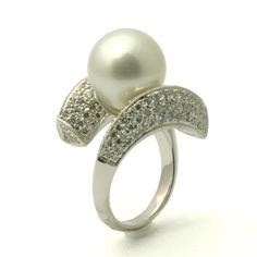 White Pearl with Diamonds Rings | South Sea White Pearl & Diamond Engagement Ring - Unusual Engagement ...