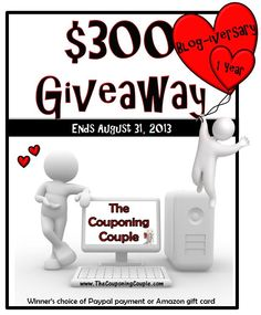 $300 #Giveaway ~ Celebrating The Couponing Couple's 1 year blog-iversary! #win #giveaways #money