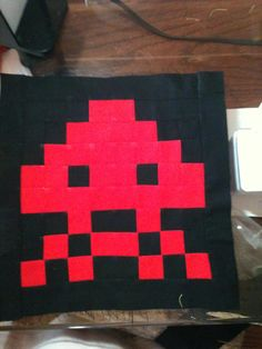 Row 1 block of Brian's Space Invader Quilt