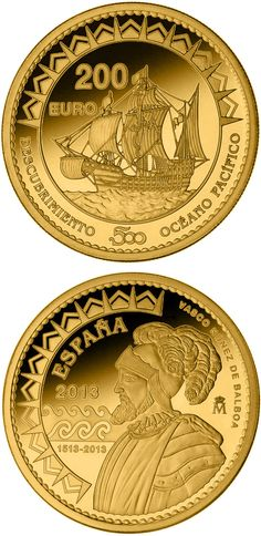 N♡T.200 euro: 500th Anniversary of the Pacific Ocean.Country:Spain  Mintage year:2013 Issue date:01.10.2013 Face value:200 euro Diameter:30.00 mm Weight:13.50 g Alloy:Gold Quality:Proof Mintage:3,000 pc proof